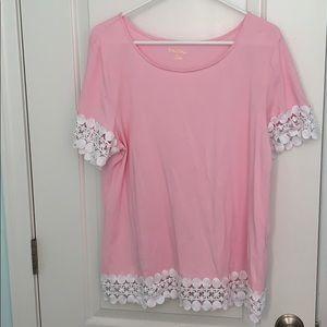 Lilly Pulitzer Hayes Lace shirt XL EUC